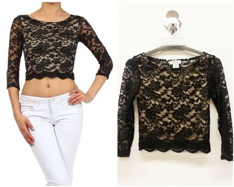 neck lace sleeve pullover lace for days white black color womens flower crop lace
