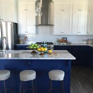satin nickel kitchen faucet white cabinets blue lower cabinets