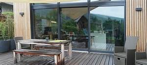 Baie Vitrée Coulissante Alu : baie coulissante 3 vantaux pvc bois alu portes terrasse ~ Melissatoandfro.com Idées de Décoration