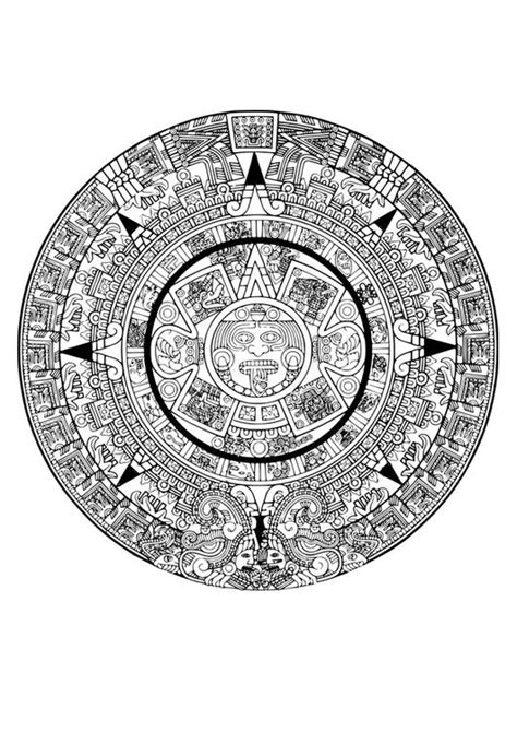 coloring page aztec calendar img  adult coloring