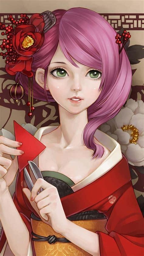 wallpaper beautiful kimono japanese anime girl pink hair