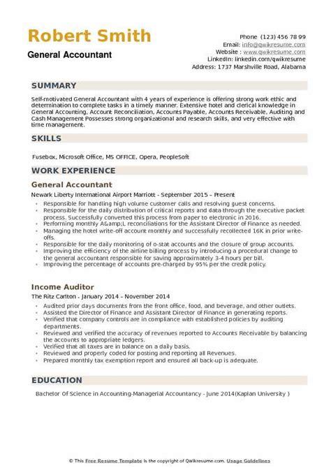 General Resume Exles by General Accountant Resume Sles Qwikresume