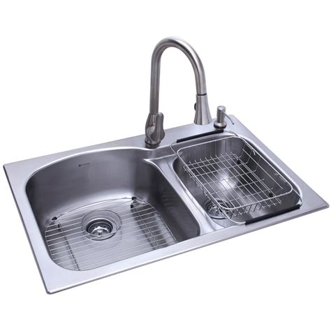 glacier bay all in one kitchen sink glacier bay all in one dual mount stainless steel 33 in 2 9224