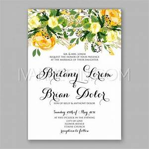 Wedding Invitation Card Template Yellow Rose Floral ...