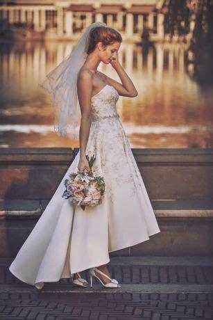 embroidered satin high  wedding dress davids bridal