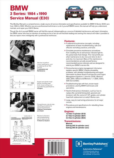 car repair manuals online pdf 1989 bmw 6 series electronic valve timing back cover bmw repair manual 3 series e30 1984 1990 bentley publishers repair manuals