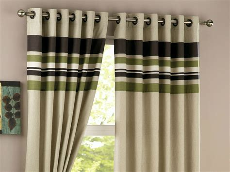 Green Brown Stripes Panel Lined Ready Made Eyelet Pair