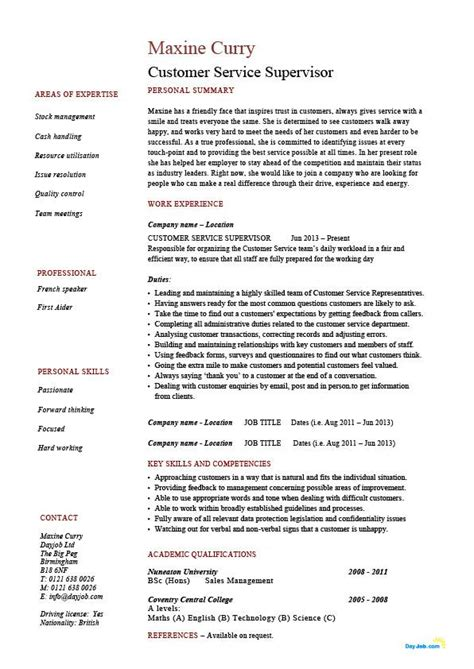 customer service cv customer service supervisor resume managing people