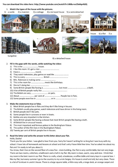 270 FREE House/Flat/Rooms Worksheets