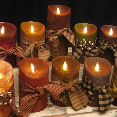 primitive battery operated flameless candles  red