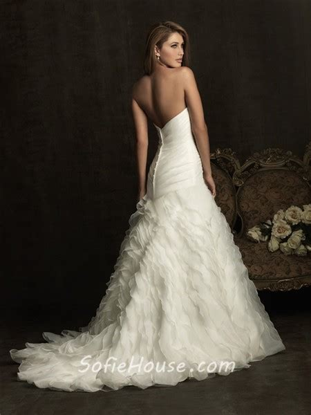 fitted   sweetheart layer organza ruffle wedding