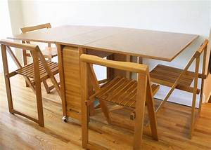 Multi wood dining table with folding chairs combination for Try and attractive foldable dining table