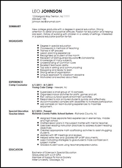 entry level special education teacher resume resume