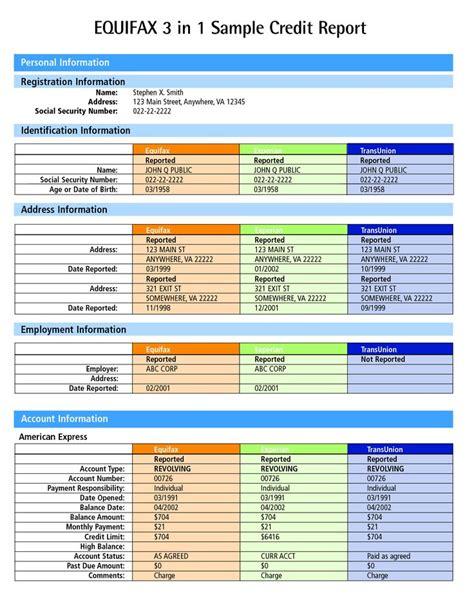 credit report sample equifax credit report  credit