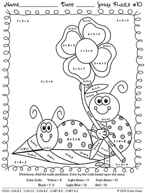 color by number spring addition math puzzles quot sum quot spring showers doodlebugs maths