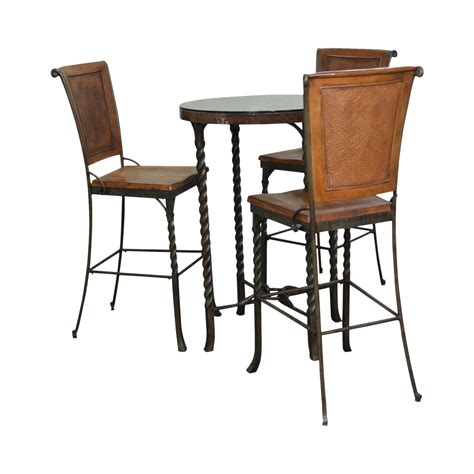 round high top table iron hammered copper top round high top pub table w 3