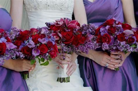 Purple Red Bouquet Fall Spring Winter Wedding Flowers