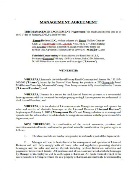 management agreement templates word