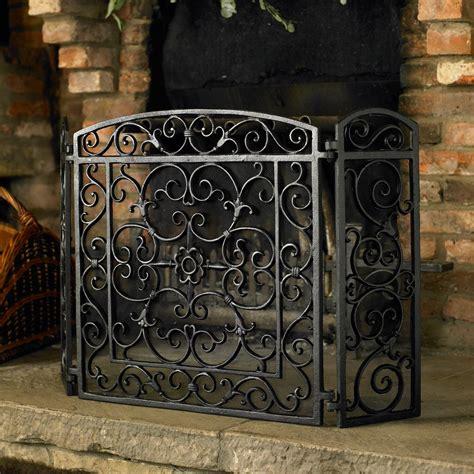 Wrought Iron Fireplace Screens Decorative Uniflame 3 Panel