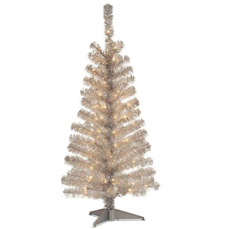 walnart 4 ft pre lit rose tinsel christmas tree 4 pre lit medium silver tinsel artificial tree clear lights walmart