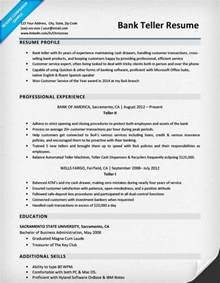 resume for banks bank teller resume sle writing tips resume companion
