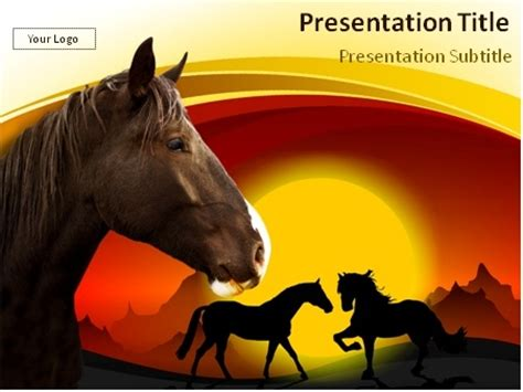 horses   dark powerpoint template
