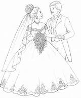 Coloring Groom Bride Colouring Sheets sketch template