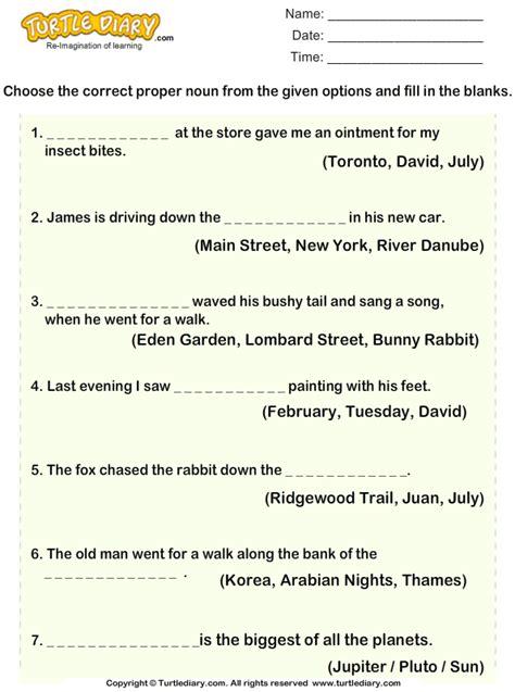 choose proper noun   sentences worksheet turtle