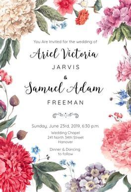 garden glory wedding invitation template   island