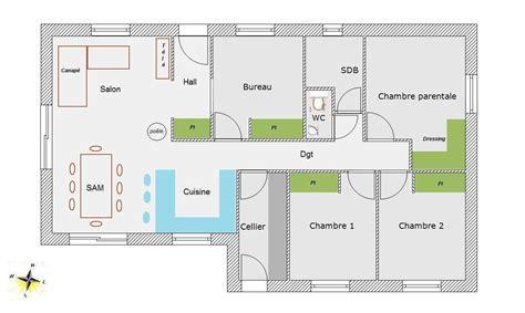 plan de maison 2 chambres plan de maison 100m2 4 chambres