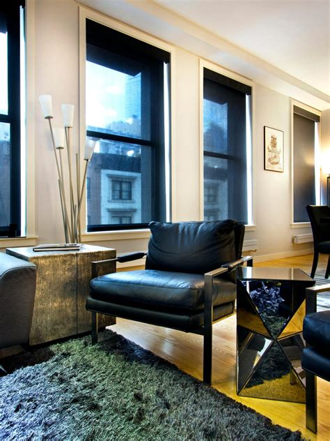 modern living room  black leather furniture hgtv