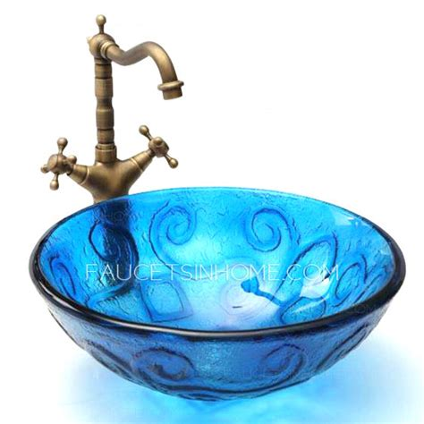 blue glass vessel sinks for bathrooms blue glass vessel sinks for bathrooms mediterranean style