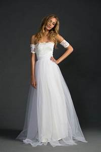 ivory strapless a line lace and tulle floor length simple With ivory simple wedding dresses