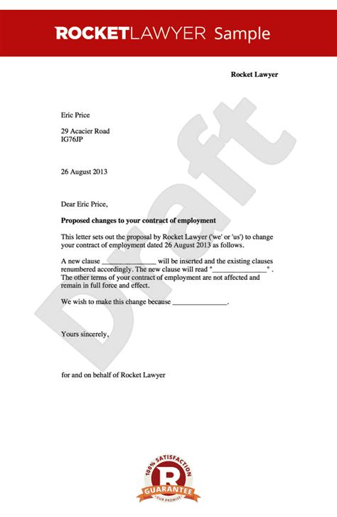 Employment Contract Amendment Letter  Change To