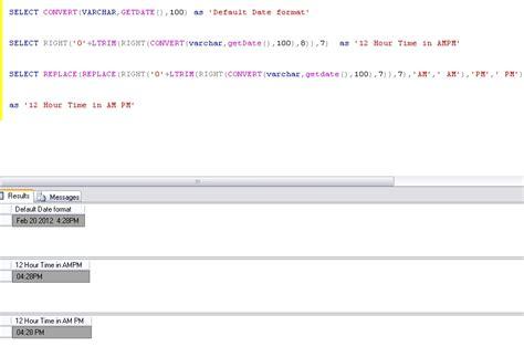 time  hhmm  pm format  sql server