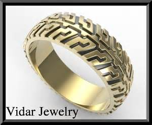 tire tread wedding ring vidar jewelry unique custom engagement and wedding rings - Tire Wedding Rings