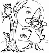 Witch Coloring Halloween Face Drawing Pretty Coloring4free Owl Witches Spider Ghost Cartoon Getdrawings Printable Cat Getcolorings Pag sketch template