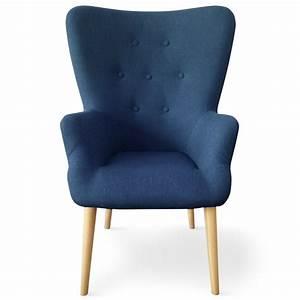 Fauteuil Scandinave Tissu : fauteuil haut dossier tissu bleu praira ~ Teatrodelosmanantiales.com Idées de Décoration