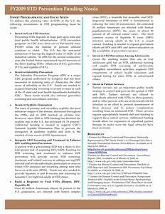 FY2009 CDC STD Prevention Funding