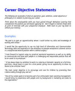 objective resume statements exles sle career objective statement 7 exles in word pdf
