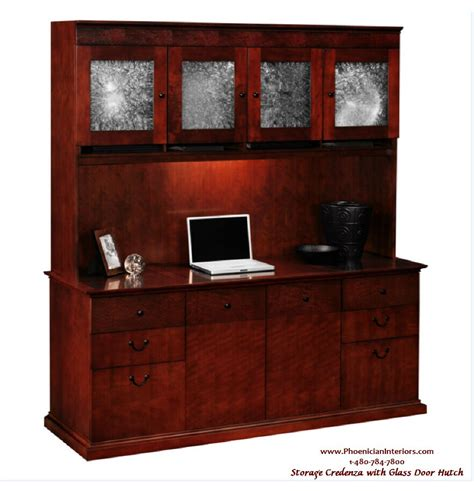 Office Hutch by 2 Set Credenza And Glass Door Hutch Office Furniture