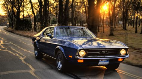 car ford ford mustang sunset trees road muscle cars