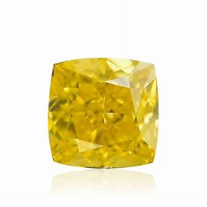 Fancy Yellow Vivid Cushion Diamond Diamonds Gia