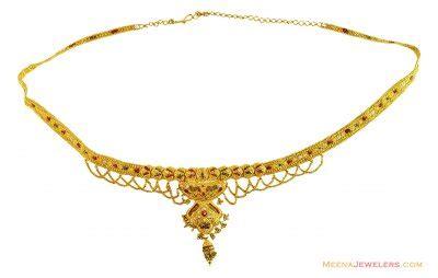designer 3 tone filigree vaddanam mskp14099 22k gold vaddanam waist belt exclusively