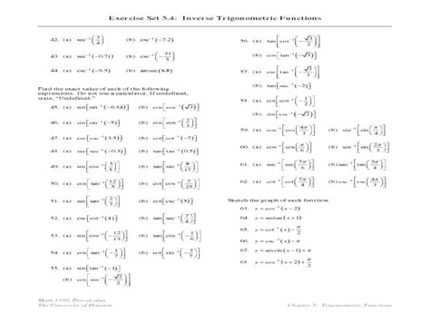 Inverse Trigonometric Functions Worksheet Worksheets For All  Download And Share Worksheets