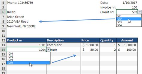 automated invoice  excel easy excel tutorial
