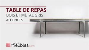 Table Bois Metal Avec Rallonge : table bois et m tal avec allonges youtube ~ Melissatoandfro.com Idées de Décoration