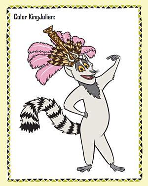 color king julien  madagascar coloring page jumpstart