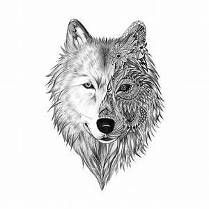 Tatouage Loup Geometrique : tatouage ephemere loup demi face tribal kolawi ~ Melissatoandfro.com Idées de Décoration