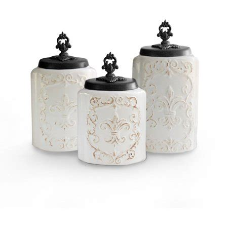 Antique Canisters Kitchen by White Antique Set Of 3 Canisters Walmart